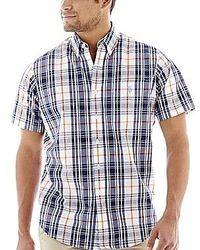 Темно-синяя рубашка с коротким рукавом в шотландскую клетку