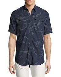 Темно-синяя рубашка с коротким рукавом из шамбре