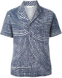 Темно-синяя рубашка с коротким рукавом с принтом