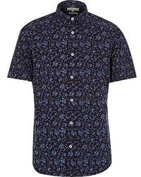 Темно-синяя рубашка с коротким рукавом с цветочным принтом