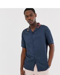 Мужская темно-синяя рубашка с коротким рукавом с цветочным принтом от ASOS DESIGN