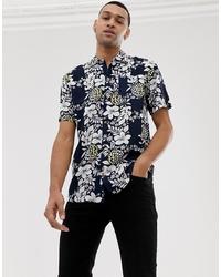 Мужская темно-синяя рубашка с коротким рукавом с цветочным принтом от Bellfield