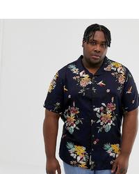 Мужская темно-синяя рубашка с коротким рукавом с цветочным принтом от ONLY & SONS