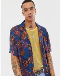 Мужская темно-синяя рубашка с коротким рукавом с цветочным принтом от Sacred Hawk