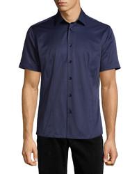 Темно-синяя рубашка с коротким рукавом