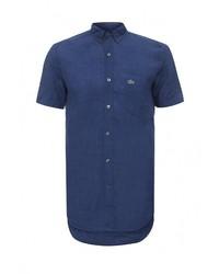 Мужская темно-синяя рубашка с коротким рукавом от Lacoste