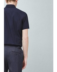 Мужская темно-синяя рубашка с коротким рукавом от Mango Man
