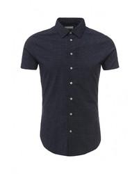 Мужская темно-синяя рубашка с коротким рукавом от Piazza Italia