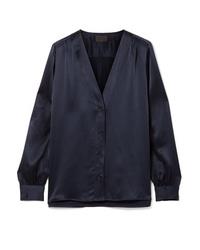 Темно-синяя сатиновая блуза на пуговицах