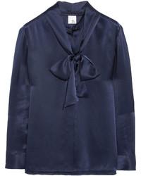 Темно-синяя сатиновая блузка с длинным рукавом