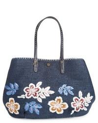 Темно-синяя соломенная большая сумка