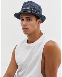 Мужская темно-синяя соломенная шляпа в горизонтальную полоску от Ted Baker
