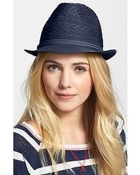 Темно-синяя соломенная шляпа