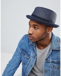 Мужская темно-синяя соломенная шляпа от ASOS DESIGN