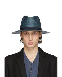 Мужская темно-синяя соломенная шляпа от Giorgio Armani