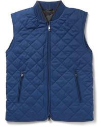 Мужская темно-синяя стеганая куртка без рукавов от Brioni