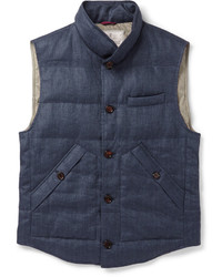 Мужская темно-синяя стеганая куртка без рукавов от Brunello Cucinelli