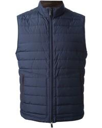 Мужская темно-синяя стеганая куртка без рукавов от Canali