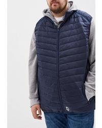 Мужская темно-синяя стеганая куртка без рукавов от D555