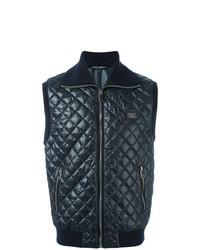 Мужская темно-синяя стеганая куртка без рукавов от Dolce & Gabbana