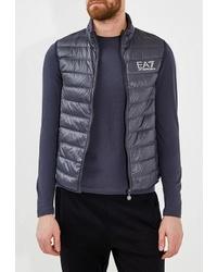 Мужская темно-синяя стеганая куртка без рукавов от EA7
