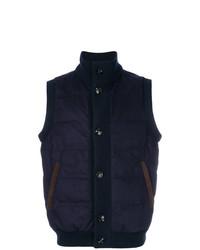 Мужская темно-синяя стеганая куртка без рукавов от Kiton