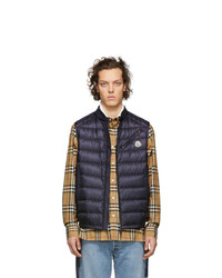 Мужская темно-синяя стеганая куртка без рукавов от Moncler