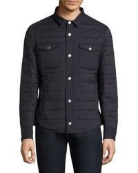Темно-синяя стеганая куртка-рубашка