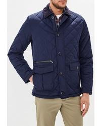 Темно-синяя стеганая куртка с воротником и на пуговицах от Jorg Weber
