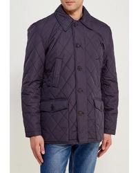 Темно-синяя стеганая куртка с воротником и на пуговицах от Kanzler