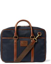 Мужская темно-синяя сумка почтальона из плотной ткани от Polo Ralph Lauren