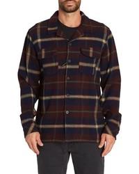 Темно-синяя фланелевая куртка-рубашка в шотландскую клетку