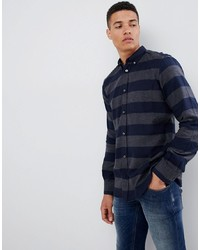 Темно-синяя фланелевая рубашка с длинным рукавом в горизонтальную полоску