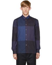 Темно-синяя фланелевая рубашка с длинным рукавом в клетку