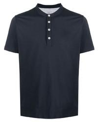 Мужская темно-синяя футболка на пуговицах от Eleventy
