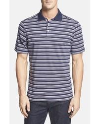 Темно-синяя футболка-поло в горизонтальную полоску