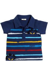 Темно-синяя футболка-поло с принтом