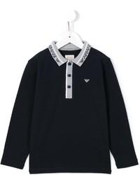 Детская темно-синяя футболка-поло для мальчику от Armani Junior
