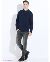 Мужская темно-синяя футболка-поло от Tom Tailor