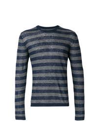 Темно-синяя футболка с длинным рукавом в горизонтальную полоску