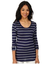Женская темно-синяя футболка с длинным рукавом в горизонтальную полоску от U.S. Polo Assn.