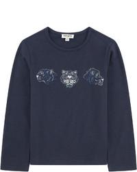 Темно-синяя футболка с длинным рукавом с принтом