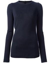 Темно-синяя футболка с длинным рукавом