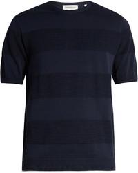 Темно-синяя футболка с круглым вырезом в горизонтальную полоску