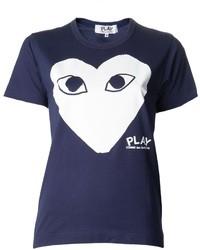 Темно-синяя футболка с круглым вырезом с принтом