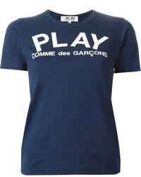Женская темно-синяя футболка с круглым вырезом с принтом от Comme des Garcons