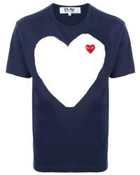 Мужская темно-синяя футболка с круглым вырезом с принтом от Comme Des Garcons Play