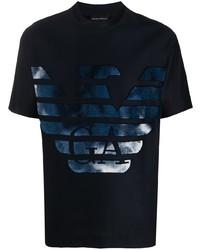 Мужская темно-синяя футболка с круглым вырезом с принтом от Emporio Armani