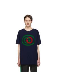 Мужская темно-синяя футболка с круглым вырезом с принтом от Gucci