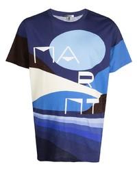 Мужская темно-синяя футболка с круглым вырезом с принтом от Isabel Marant